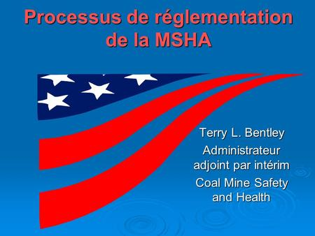 Processus de réglementation de la MSHA Terry L. Bentley Administrateur adjoint par intérim Coal Mine Safety and Health.