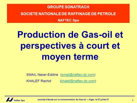Production de Gas-oil et perspectives à court et moyen terme