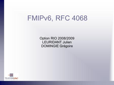FMIPv6, RFC 4068 Option RIO 2008/2009 LEURIDANT Julien DOMINGIE Grégoire.