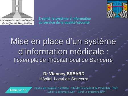 Dr Vianney BREARD Hôpital Local de Sancerre