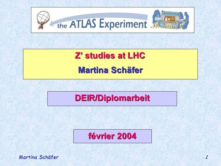 Martina Schäfer 1 Z studies at LHC Martina Schäfer DEIR/Diplomarbeit février 2004.