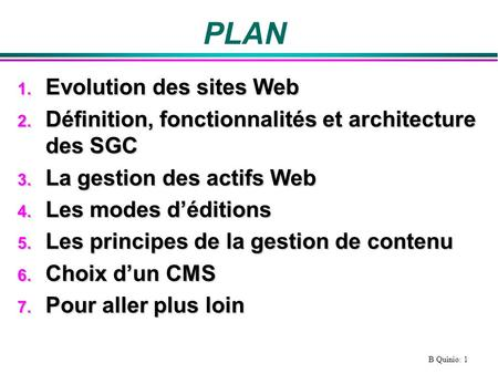 PLAN Evolution des sites Web