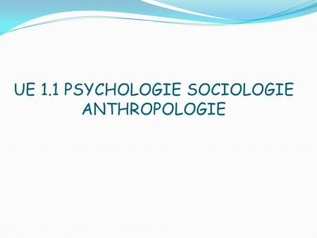 UE 1.1 PSYCHOLOGIE SOCIOLOGIE ANTHROPOLOGIE. Plan Psychologie -état psychique -syndrome post-chute -diminution chronique de lestime de soi liée au vieillissement.
