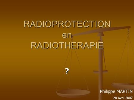 RADIOPROTECTION en RADIOTHERAPIE