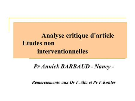 Analyse critique d'article Etudes non interventionnelles