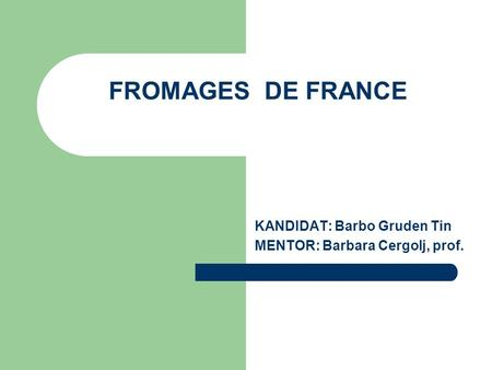 FROMAGES DE FRANCE KANDIDAT: Barbo Gruden Tin MENTOR: Barbara Cergolj, prof.