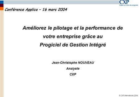 Conférence Applica – 16 mars 2004