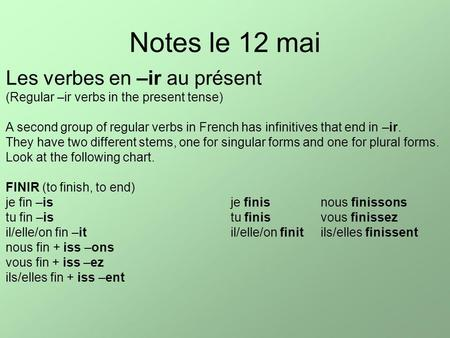 Notes le 12 mai Les verbes en –ir au présent (Regular –ir verbs in the present tense) A second group of regular verbs in French has infinitives that end.