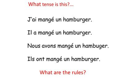 What tense is this?... What are the rules? J'ai mangé un hamburger.