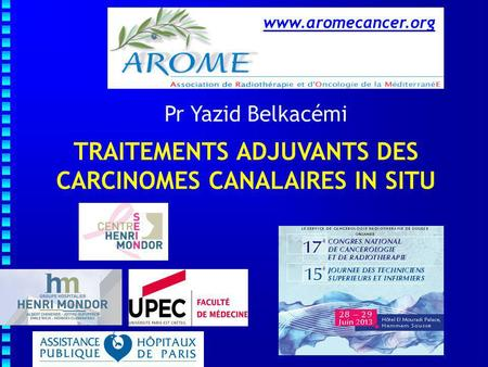 TRAITEMENTS ADJUVANTS DES CARCINOMES CANALAIRES IN SITU Pr Yazid Belkacémi www.aromecancer.org.