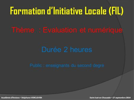 Formation d'Initiative Locale (FIL)