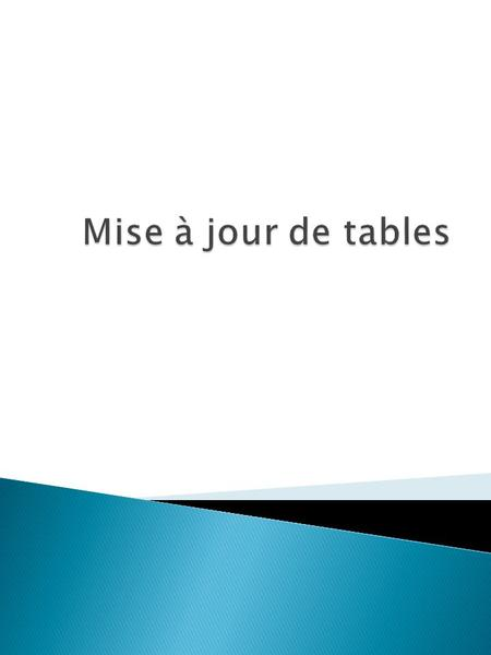  CREATE TABLE  DROP TABLE  ALTER TABLE  INSERT  UPDATE  DELETE  SELECT interrogation 2 Instruction de mise à jour structure.
