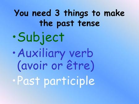 You need 3 things to make the past tense Subject Auxiliary verb (avoir or être) Past participle.