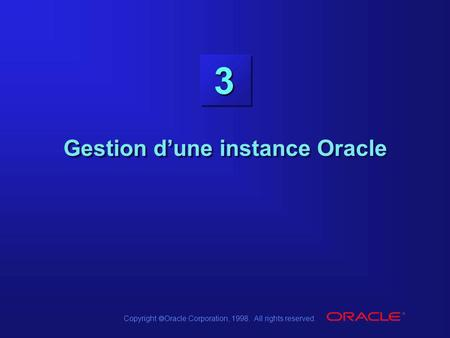 Gestion d'une instance Oracle