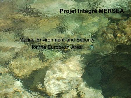 GMES Projet Intégré MERSEA Marine Environment and Security for the European Area.