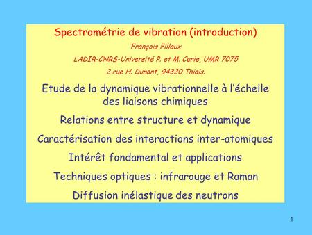 Spectrométrie de vibration (introduction)
