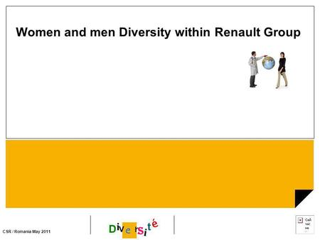 CSR / Romania May 2011 i D i e r s t é v Women and men Diversity within Renault Group.