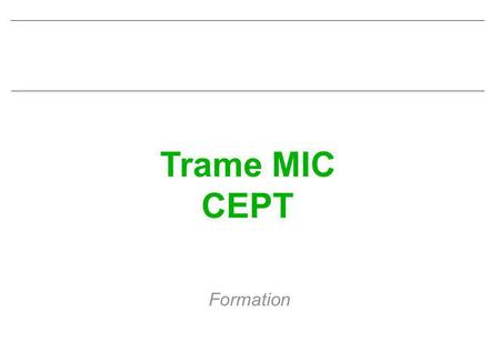 Trame MIC CEPT Formation. CIN ST MANDRIER Trame MIC 10-96 Sommaire nINTRODUCTION nFILTRAGE nECHANTILLONNAGE nQUANTIFICATION - CODAGE nMULTIPLEXAGE nORGANISATION.