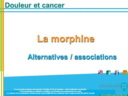 Douleur et cancer La morphine Alternatives / associations La morphine Alternatives / associations Tous les droits d'auteurs sont réservés à l'Institut.