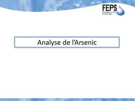Analyse de l'Arsenic.