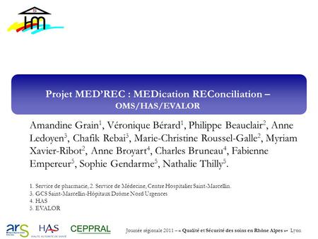 Projet MED'REC : MEDication REConciliation – OMS/HAS/EVALOR