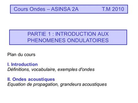 Cours Ondes – ASINSA 2AT.M 2010 PARTIE 1 : INTRODUCTION AUX PHENOMENES ONDULATOIRES Plan du cours I. Introduction Définitions, vocabulaire, exemples d'ondes.