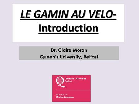 LE GAMIN AU VELO- Introduction