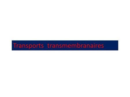Transports  transmembranaires