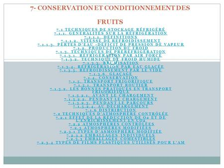 7- CONSERVATION ET CONDITIONNEMENT DES FRUITS