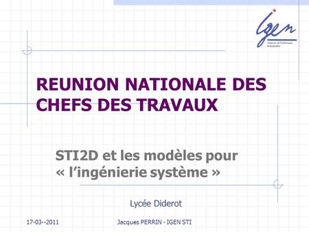 REUNION NATIONALE DES CHEFS DES TRAVAUX