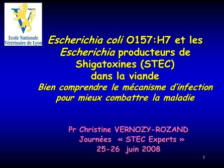 Pr Christine VERNOZY-ROZAND Journées « STEC Experts »