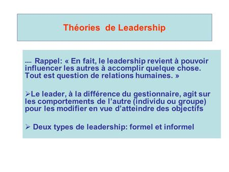 Théories de Leadership