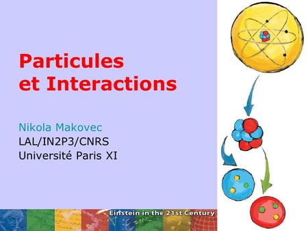 Particules et Interactions Nikola Makovec LAL/IN2P3/CNRS Université Paris XI.
