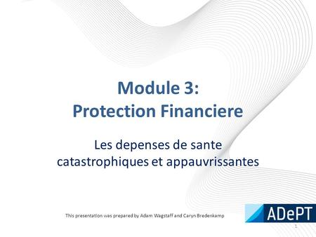 Module 3: Protection Financiere Les depenses de sante catastrophiques et appauvrissantes 1 This presentation was prepared by Adam Wagstaff and Caryn Bredenkamp.