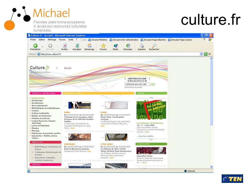 MICHAEL un portail européen, multilingue, pour donner accès aux collections numérisées réparties dans les institutions européennes Première plate-forme européenne d accès aux ressources culturelles numérisées
