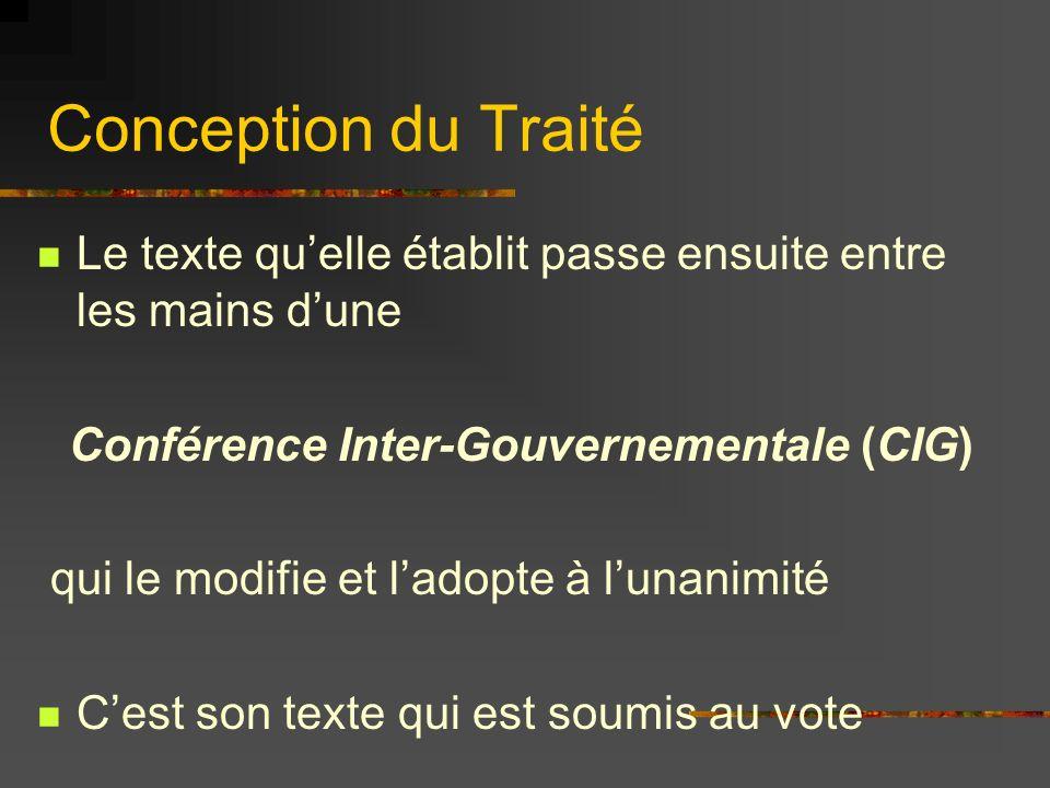 Valeur Juridique actuelle Les traités nentrent pas en vigueur dès leur signature : 1.Les Chefs dÉtat les signent puis lÉtat le ratifie selon la procédure prévue par sa Constitution.