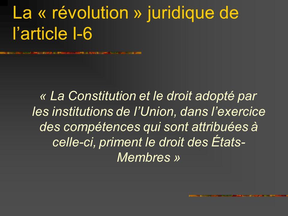 Ainsi la hiérarchie des normes serait : 1.Le Traité établissant Constitution 2.