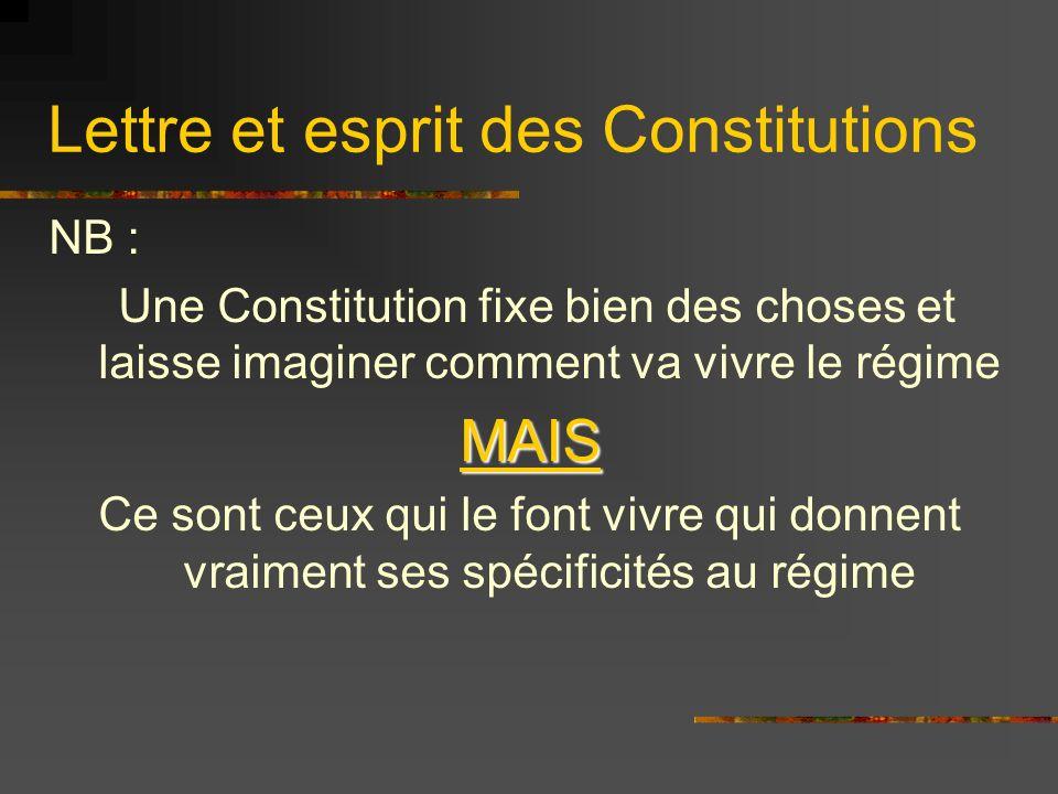 Lettre et esprit des Constitutions Ex: Le Président de Gaulle a donné un rôle politique prépondérant au Président de la République Ex2 : le mode de scrutin a une influence extrême sur la vie politique.
