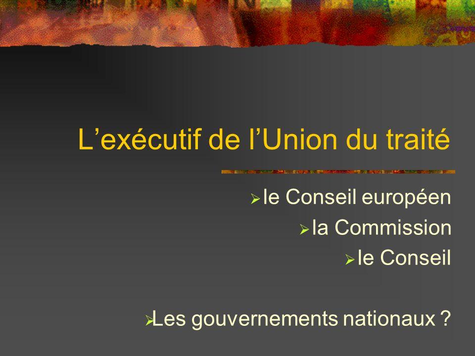 Le Conseil européen Chefs dÉtats et de Gouvernements Il définit: les orientations et les priorités politiques générales Réunion tous les 3 mois Décisions par consensus
