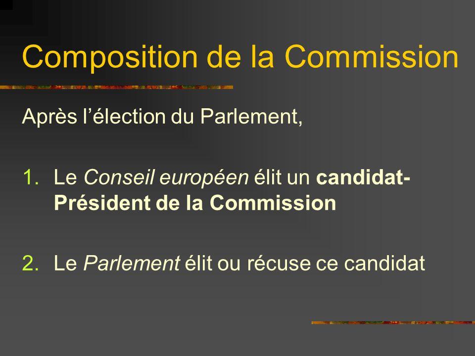 Composition de la Commission A.Un président de la Commission est élu B.Les États proposent un Commissaire C.Le Président répartit les fonctions D.Le Parlement vote son approbation ou récuse la Commission