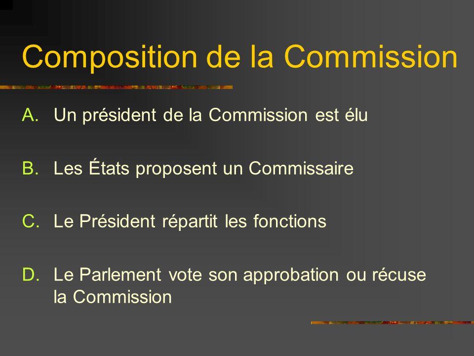 Composition de la Commission Ministre des Affaires Étrangères de lUnion: Nommé par le Conseil Européen Avec laccord du Président de la Commission Ce ministre est dans la Commission