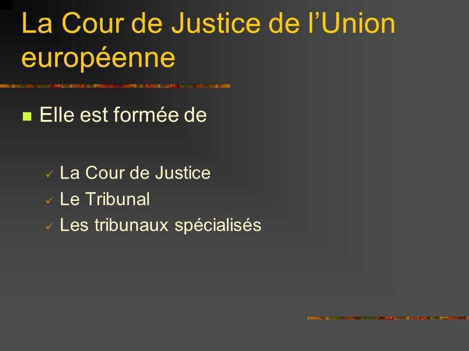 La Cour de Justice Elle défend le droit de lUnion Elle permet notamment aux gouvernements et à la Commission de porter plainte contre un État-membre