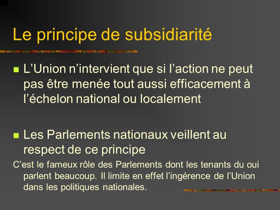 Le principe de subsidiarité Cest le protocole n°2 qui explique comment interviennent les Parlements Chaque pays disposent de 2 voix.