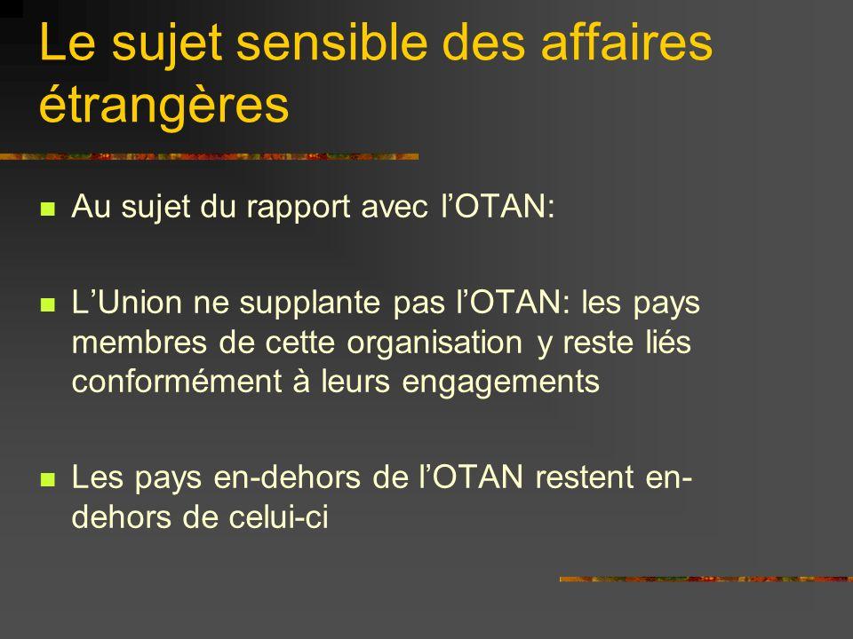 Le sujet sensible des affaires étrangères Dans ce domaine, lUnion œuvre de manière confédérale: le Ministre commun « va aux ordres » auprès des ministres nationaux réunis.