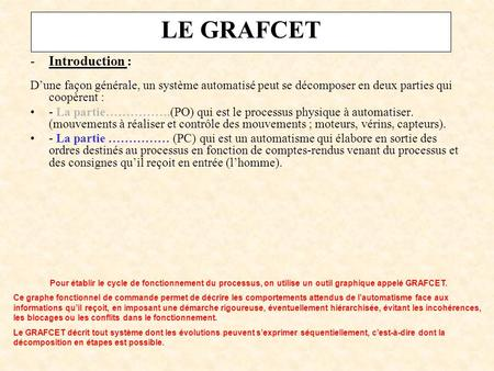 LE GRAFCET Introduction :