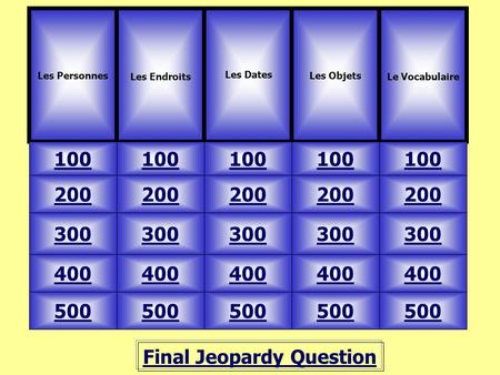 Final Jeopardy Question Les Personnes Les Endroits 100 Les Objets Le Vocabulaire 500 400 300 200 100 200 300 400 500 Les Dates.