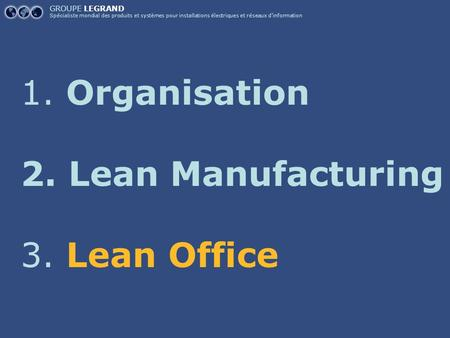 Organisation Lean Manufacturing Lean Office GROUPE LEGRAND