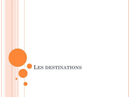 L ES DESTINATIONS. Je vais… ALLER to go.