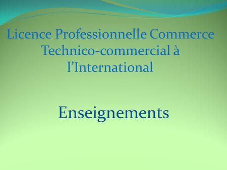 Enseignements Licence Professionnelle Commerce Technico-commercial à l'International.