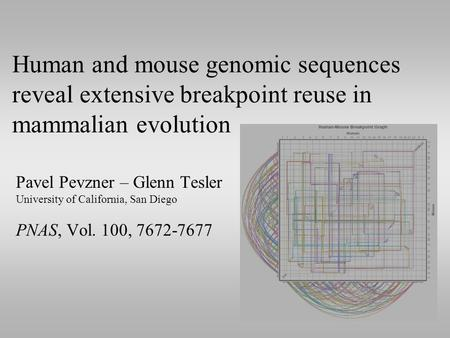 Human and mouse genomic sequences reveal extensive breakpoint reuse in mammalian evolution Pavel Pevzner – Glenn Tesler University of California, San Diego.